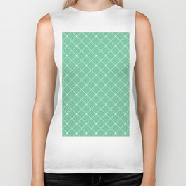 Geometrical abstract modern white green pattern Biker Tank