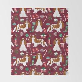 Cavalier King Charles Spaniel blenheim coat christmas pattern dog breed by pet friendly Throw Blanket