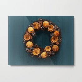Cinnamon and Orange Wreath Metal Print