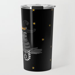 Magic Whitch cat in a hat and her black cat-bat for Halloween Travel Mug