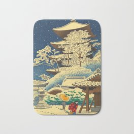 Japanese Woodblock Print Vintage Asian Art Colorful woodblock prints Shrine At Night Snow White Bath Mat