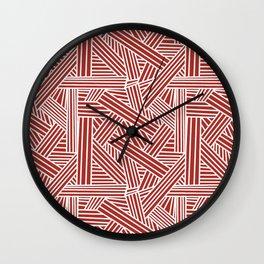 Sketchy Abstract (White & Maroon Pattern) Wall Clock