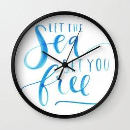 Sea Ocean Love Blue Watercolor Brushstroke Calligraphy  Wall Clock