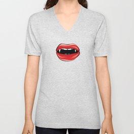 Red vampire lips Unisex V-Neck