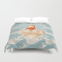 orange Duvet Covers featuring Sailor by Seaside Spirit