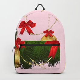 RED RIBBONS GOLD ORNAMENTS HOLIDAY PINK DESIGN ART Backpack