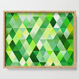 Lime Green Yellow White Diamond Triangles Mosaic Pattern Serving Tray