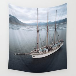 Sailing Ship in front of a Mountain Valley in Norway Wall Tapestry