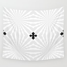 Bright White & Silver Pinwheels with Small Black Crosses Wall Tapestry