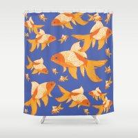 goldfish Shower Curtains featuring Goldfish by PoseManikin