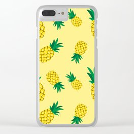Lovely pineapple illustration pattern, yellow background illustration Clear iPhone Case