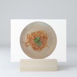 isolated italian spaghetti with tomato sauce and basil Mini Art Print