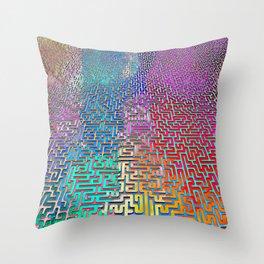 Rainbow Complex Maze Throw Pillow