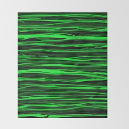 Lime Green and Black Stripes Throw Blanket
