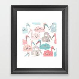 Cute Pelicans Framed Art Print