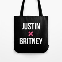 justin timberlake Tote Bags featuring JUSTIN + BRITNEY by EXO Design