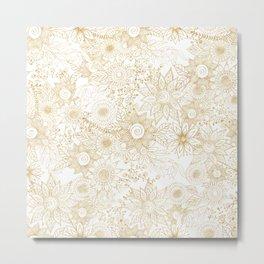 Elegant golden floral doodles design Metal Print