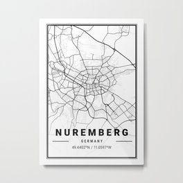Nuremberg Light City Map Metal Print