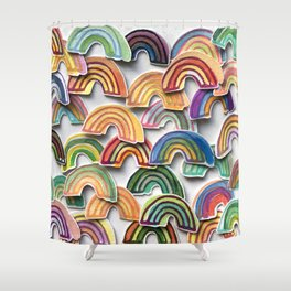 Watercolor Rainbow Stickers Shower Curtain