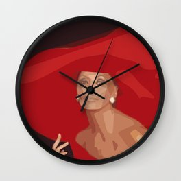 Lady In A Red Hat Wall Clock