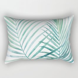 Twin Palm Fronds - Teal Rectangular Pillow