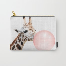 Giraffe with pink bubble gum Carry-All Pouch