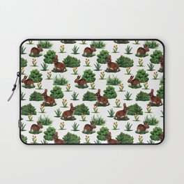 A Bevy Of Bunnies - Rabbit Pattern With Yellow Flower & Green Shrubs Laptop Sleeve