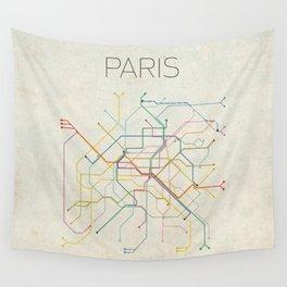 Minimal Paris Subway Map Wall Tapestry