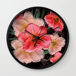 PINK & CREAM DAYLILIES BLACK ART Wall Clock