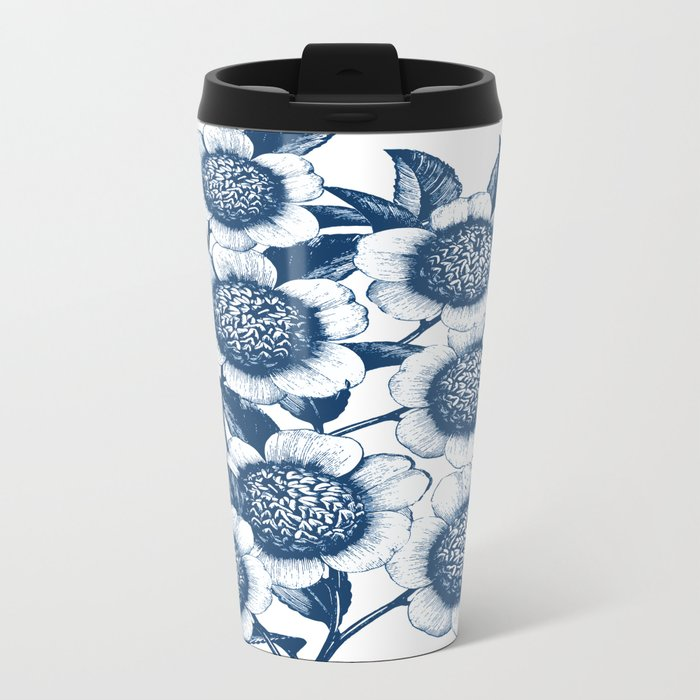 Blue Flowers Elegant Pattern Metal Travel Mug
