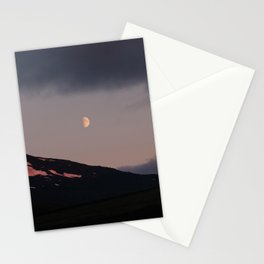Moon over blackness and red pink ice Stationery Cards