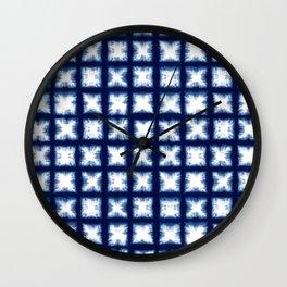 Indigo Shibori Granny Squares Wall Clock