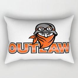 Outlaw Biker Angry Mascot Rectangular Pillow