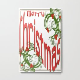 Merry Christmas With Stylized Holly With White Background  Metal Print