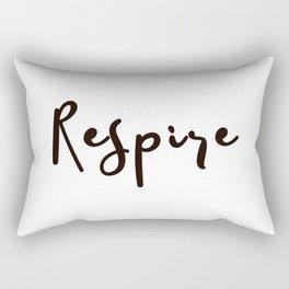 Breathe Print Square Black & white Respire Relax Meditation Art Inspire Yoga French Quote Typography Rectangular Pillow