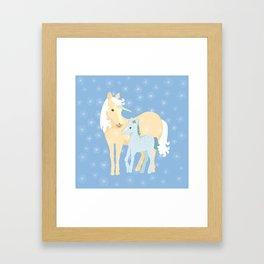Unicorns. Mom and baby Framed Art Print