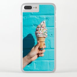 Holding a colorful ice cream Clear iPhone Case