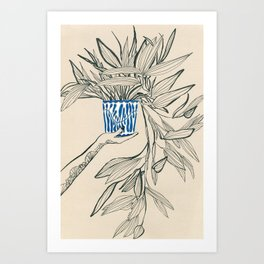 Line drawing leaves #8 Art Print