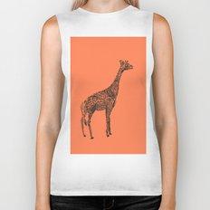 Designer Giraffe Coral Biker Tank