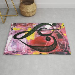Treble Heart Clef In Pink Rug