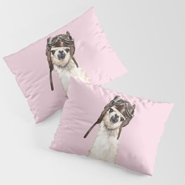 Cool Pilot Llama in Pink Pillow Sham