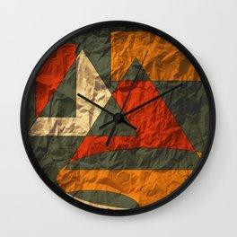 Golden Red-Orange on Gray Wall Clock
