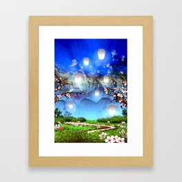 White lanterns with cherry blossom and mountain temple Framed Art Print