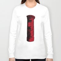 british Long Sleeve T-shirts featuring British Postbox by Carrie at Dendryad Art