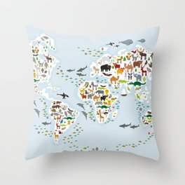 Cartoon animal world map for children and kids, Animals from all over the world, back to school Throw Pillow
