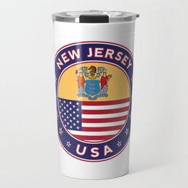 New Jersey, USA States, New Jersey t-shirt, New Jersey sticker, circle Travel Mug