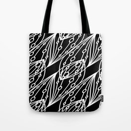 White molecular helix with diagonal circles on a black background. Tote Bag