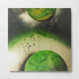 Spray paint art -green orbs Metal Print