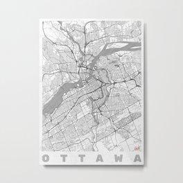 Ottawa Map Line Metal Print