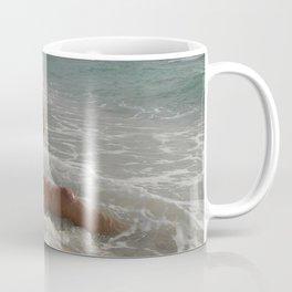 0093-SS Beautiful Naked Woman Nude Beach Sand Surf Big Breasts Long Black Hair Sexy Erotic Art Coffee Mug